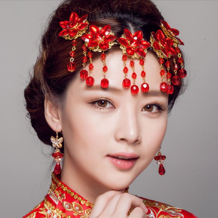 Vintage Coronet Hair Accessory Classical Bridal Jewelry Headdress Artificial Garnet Gems Frontlet Red Crystal Tassel Earrings
