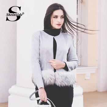 Piel Contraste Jamón Sintética De Mujeres Grey Sheinside wt5Cq4Aq