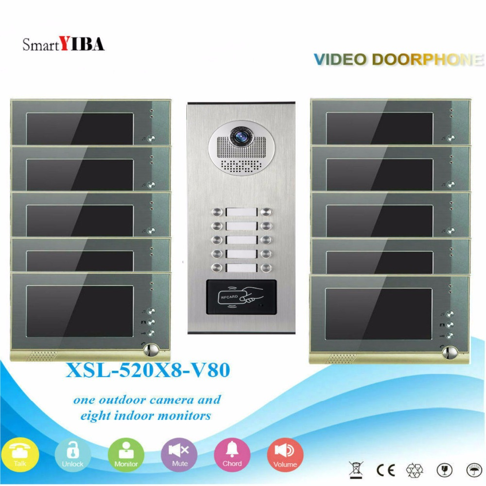 SmartYIBA 7inch Apartment Building Home Security Camera System Max For 12 HouseHolds Video Door Phone Doorbell Intercom Kits