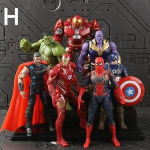 Набор из 7 предметов: Мстители Marvel, супергерои, фигурка Тора + Капитан Америка + Человек-паук + Железный человек + танос + халкбастер + Халк