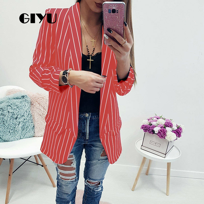 GIYU Spring Women Striped Printing Blazer Long Sleeve Notched Jackets Sexy Loose Tops Casual Camiseta Mujer