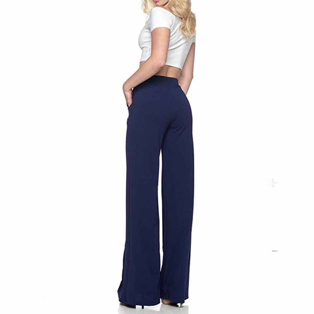Womail Fashion Solid Loose Lange Palazzo Broek 2019 Lente Herfst Vrouwen Hoge Taille Wijde Pijpen Broek Plus Size