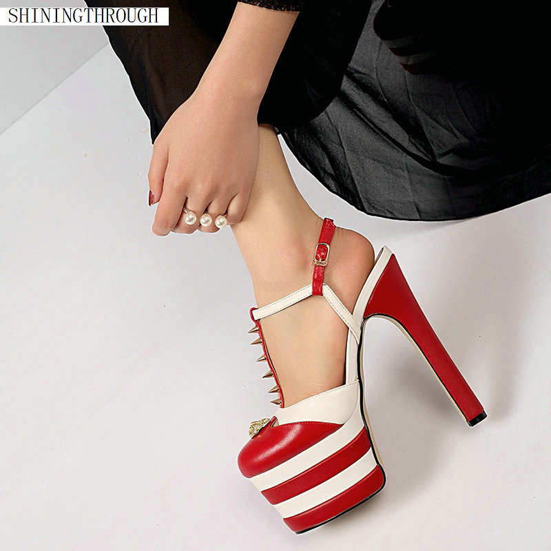 15 Cm Super High Heels Damen Sandalen 2019 Sommer Mischfarben Frauen T-strap Nieten Sandalen Party Hochzeit Schuhe Frau