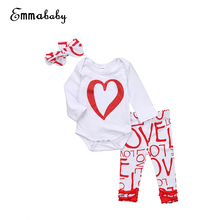 Girls Clothing Set 3PCS Newborn Infant Baby Girl Love Print Bodysuit Romper Long Sleeve+Long Pants Cotton Clothes Outfit 0-18M