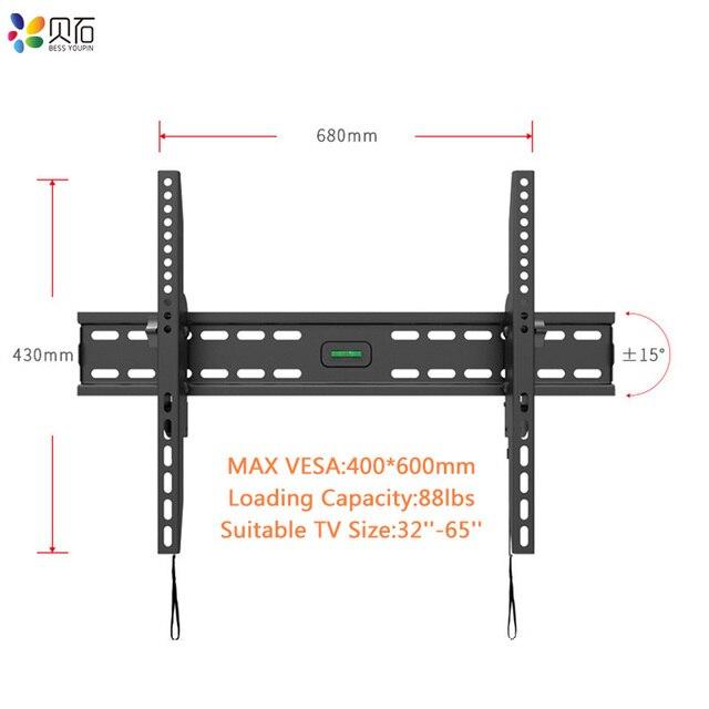 Наклонный настенный кронштейн для телевизора, подставка для ЖК монитора 32 65 дюймов, плоский экран, ТВ s с VESA до 400*600 мм, грузоподъемность 88 фунтов