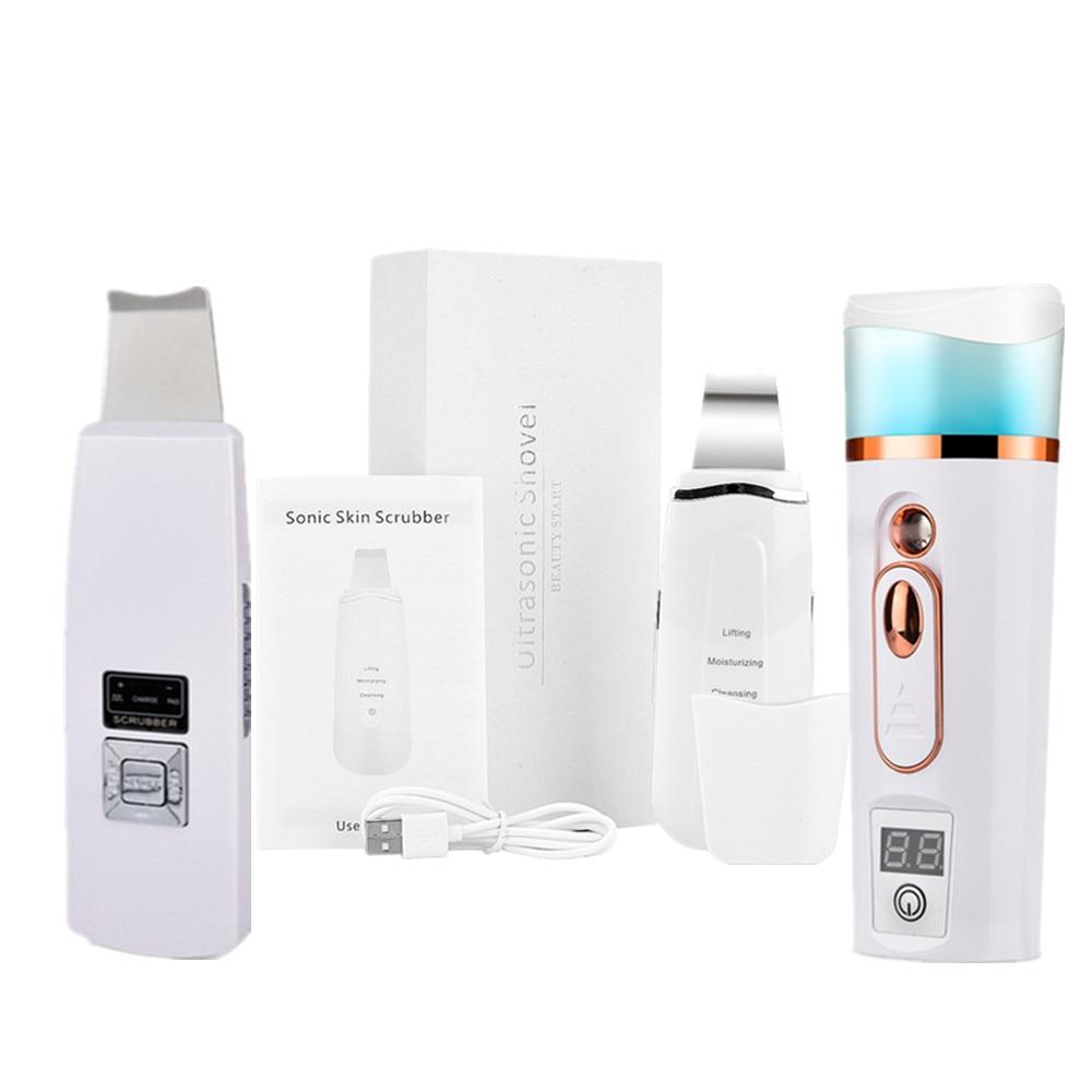 Ultrasonic Skin Scrubber Face Vibrator Massage Ultrasound Ion Deep Facial Cleansing Machine Remove Blackhead Wrinkle Pore Clean