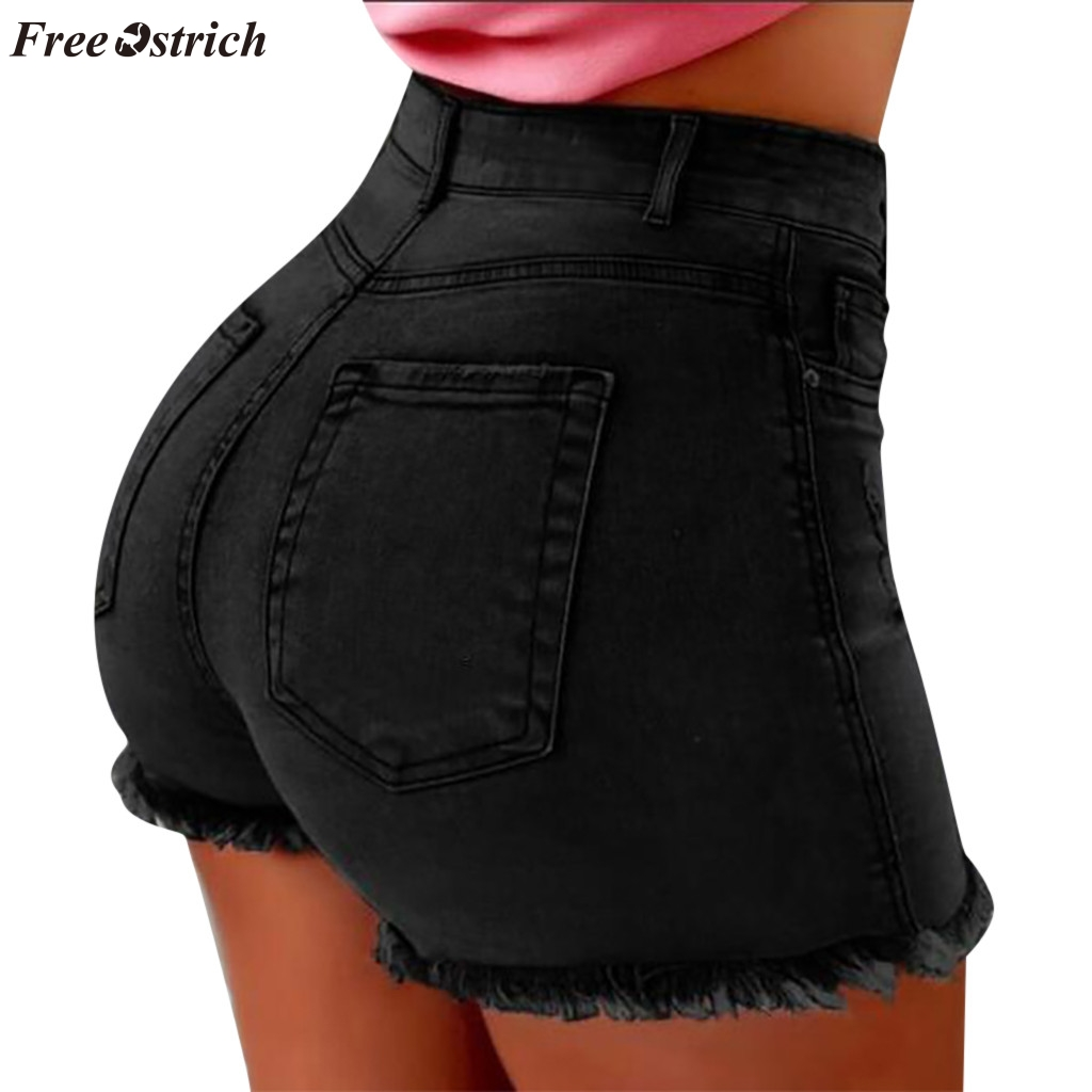FREE OSTRICH New fashion women's summer cotton high waist   short   jeans toes pocket button medium wash fit   shorts   2019 hot sale