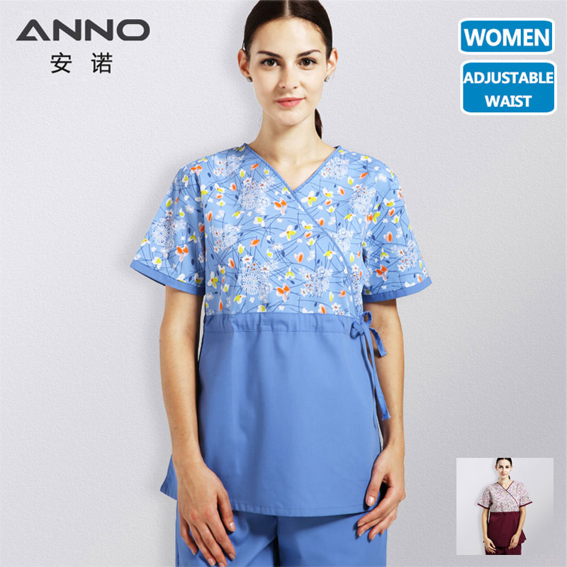 ANNO Hospital Nurse Uniform Women With Adjust Waist Medical Cloth Body Scrubs Set Surgical Clinic Uniforms Medical Hair Dresser