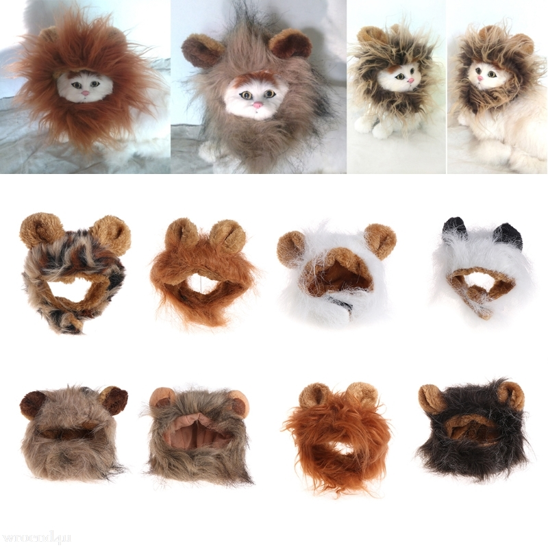 Pet Costume Cosplay Cat Lions Mane Wig Cute Dog Cap Hat Halloween Xmas Dress With Ears Drop Ship