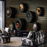 Free Shipping 3D Retro Retro Retro Car Tires Wallpaper Theme KTV Bar TV Background Wallpaper Seamless