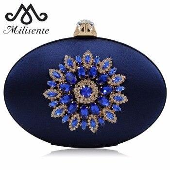 Milisente Wanita Malam Tas Laides Kristal Diamond Bunga Dompet Fashion Sutra Oval Bulat Pernikahan Kotak Clutches Dompet