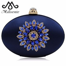 Milisente Women Evening Bags Laides Crystals Diamond Flower Purses Fashion Silk Oval Round Wedding Box Clutches Purse