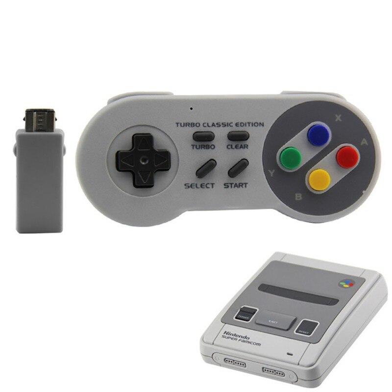 Adaptador Bluetooth Gamepads Controlador sem fio 2.4G Clássico Jogo Alça de Apoio Para Nes/Snes/Wii