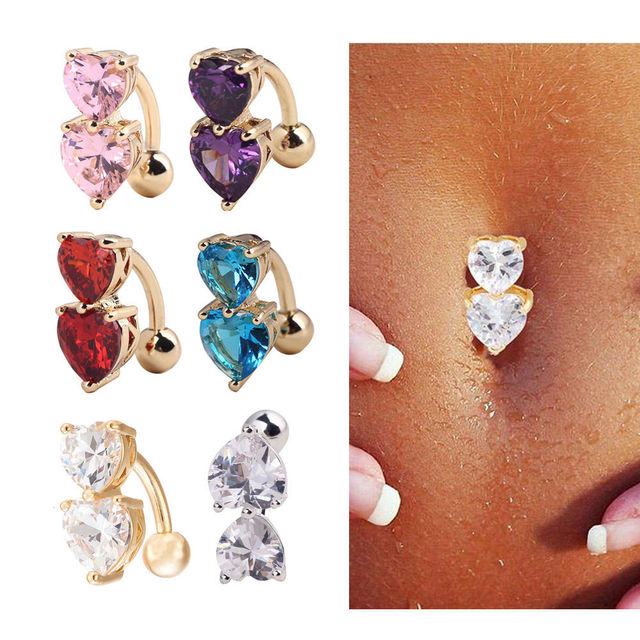 New Arrive Double Heart Belly Bar Upside Down 316l Surgical Steel Navel Bell On Ring For