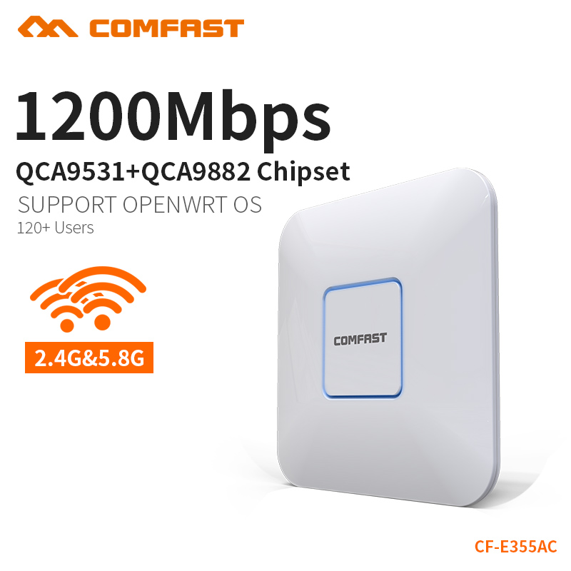 цена COMFAST 1200Mbps Wifi Access Point Router 2.4G + 5.8G Wifi Extender 500 Square Meters Coverage Support OpenWRT CF-E355AC Upgrade
