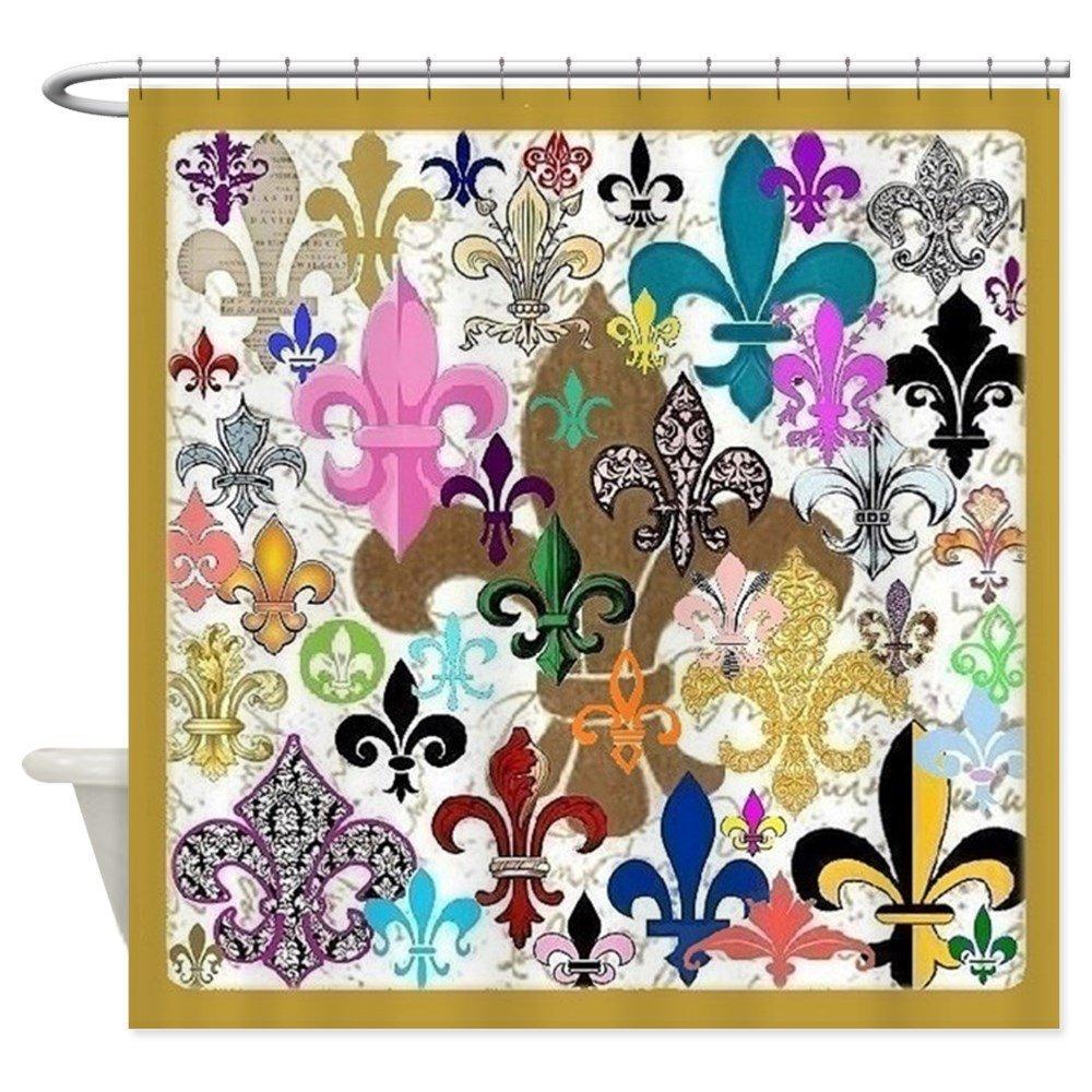 Fleur De Lis Shower Curtain - Decorative Fabric Shower Curtain (69x70)
