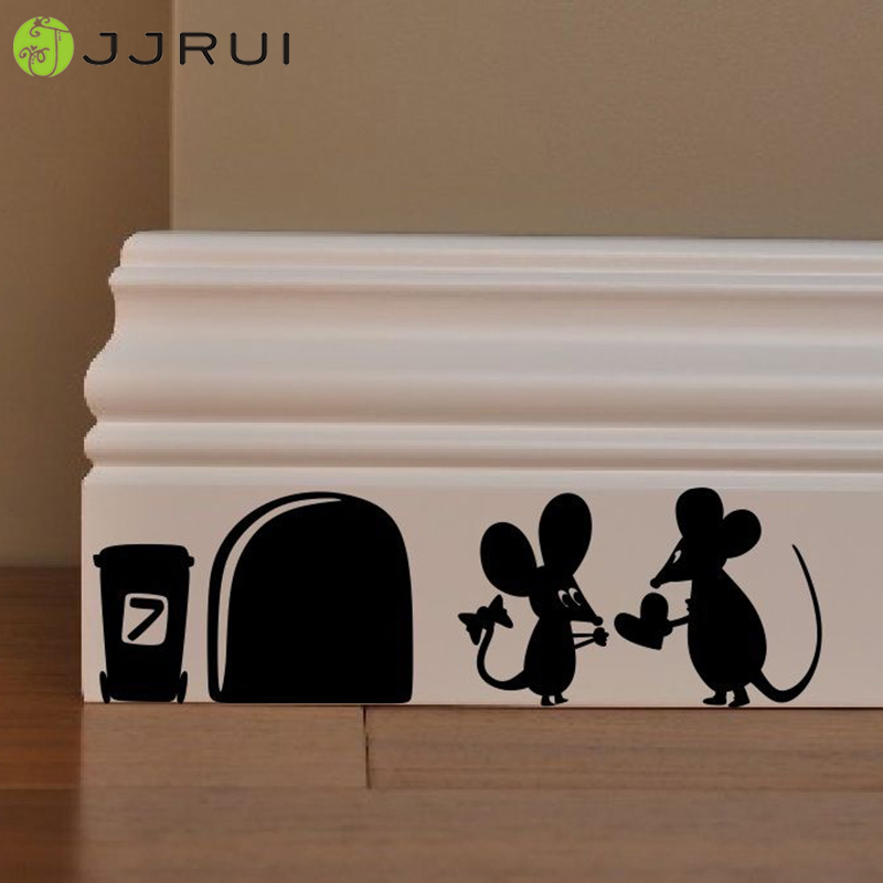 Cute Mouse Amour Love Heart funny wall decal vinyl stickers Valentines decor PVC Home Kids Room Skirting Board Wall Art Sticker