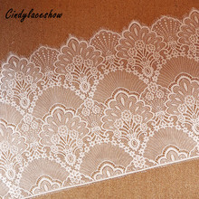 3Meters 47cm Wide Black White Eyelashes Lace Trim Sewing Fabric Womens Dress Clothing Accessories Materials Underwear