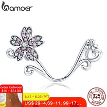 BAMOER Hot Sale Authentic 925 Sterling Silver Sakura Cherry Flower Pendant Charms Fit Original Bracelets Jewelry Making SCC1033(China)