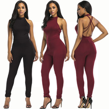 New hot fashion personality temperament hanging neck naked back irregular self-cultivation sexy womens jumpsuit