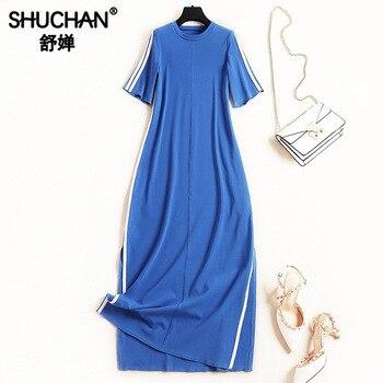 e02b8f1efd0367e Shuchan Vestidos Elegantes повседневное es прямое платье с полосками по  бокам 2019 для женщин дизайнер платья для Мода 51057