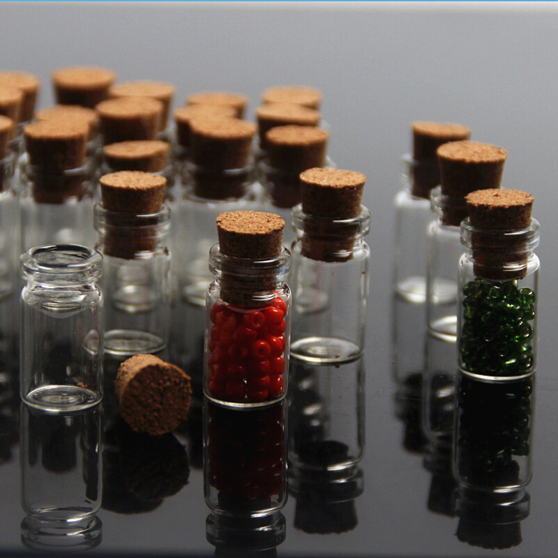 50Pcs Glass Bottle Tie Plug Tiny Empty Wishing Message Bottle Charms Pendants Mini Containers Vials Bottles Vial Potion 10X22mm