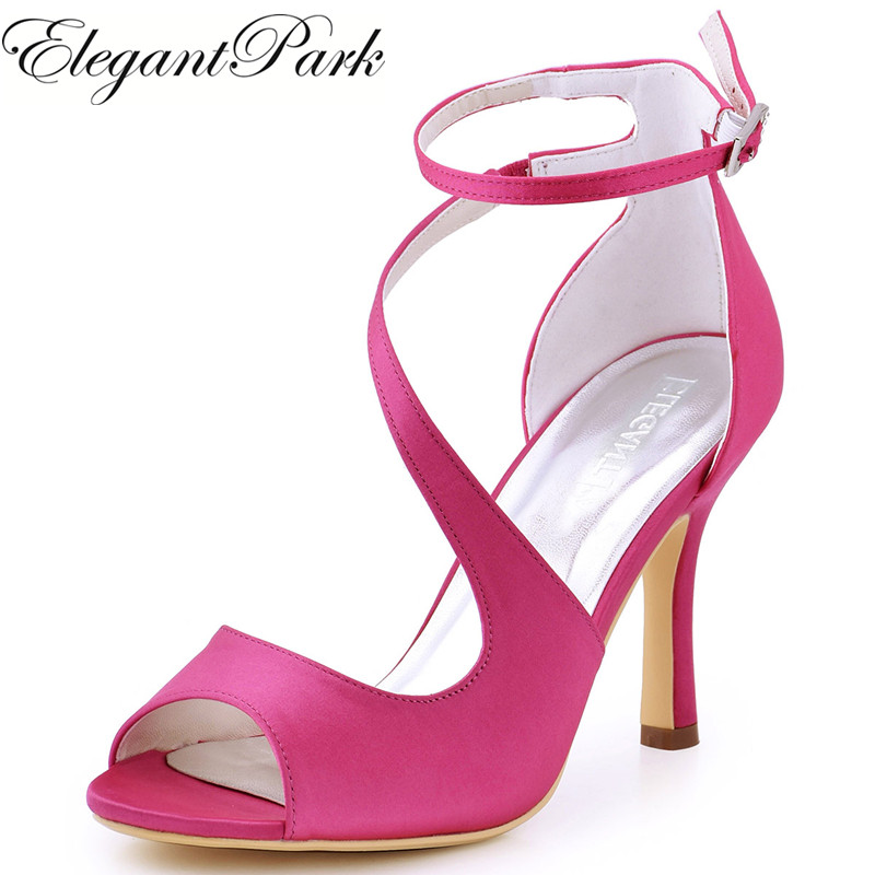 Women Sandals Hot Pink Ankle Strap High Heel Bride Bridesmaid Wedding Bridal Shoes Sexy Evening Party Pumps Ivory Blue HP1565 navy blue woman bridal wedding sandals med heel peep toe bride bridesmaid lady evening dress shoes white ivory pink red hp1623