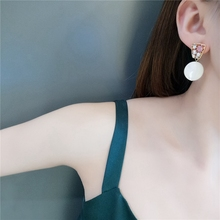 Korean Sweet Natural Round Shell Colorful Shiny Crystal Charm Earrings for Women Girl Retro Cute Stud Ear Accessories