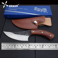 High Carbon Steel Fixed Blade Knife Straight Handmade Forged Hunting Knife 58HRC Wooden Handle Camping Tactical