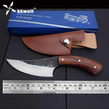 KKWOLF High carbon steel fixed knife Straight Handmade forged hunting knife 58HRC Wooden handle  Camping Tactical Survival Knife - DISCOUNT ITEM  25% OFF All Category
