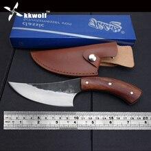 KKWOLF cuchillo fijo de acero de alto carbono, cuchillo de caza forjado hecho a mano recto con mango de madera 58HRC, cuchillo táctico de supervivencia para acampar