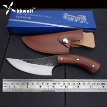 KKWOLF нож из высокоуглеродистой стали, прямой кованый охотничий нож ручной работы, 58HRC, деревянная ручка, походный тактический нож для выживания