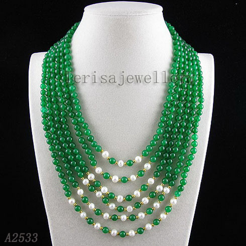 Terisa Pearljewellery 6 Rows Round Jades White Freshwater Pearl Necklace AA 4 6MM Handmade Fashion Lady's Gift Jewelry