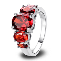 2015 Awesome Oval Cut Garnet Red 925 Silver Ring Women Party Fashion Jewelry Size 6 7 8 9 10 11 12 13  Wholesale Free Shipping