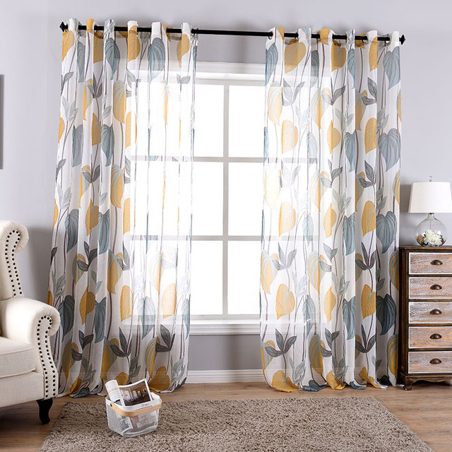 One Panels Pastoral Style Leaves Tulle Curtains For Living Room Interior Decoration Home Printed Sheer