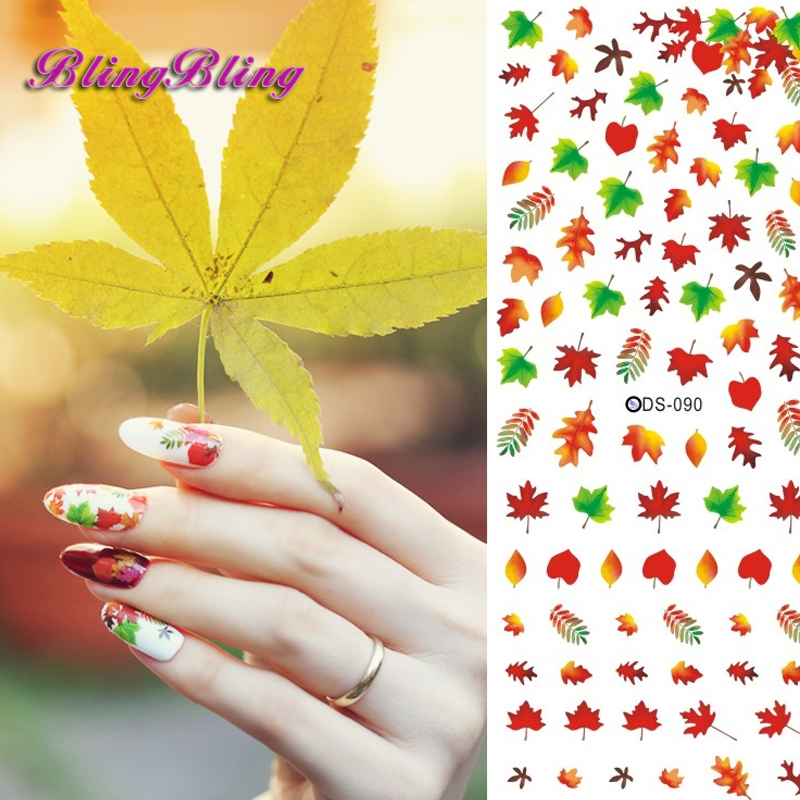 2 sheet Nails Water Decals Sexy Colorful Maple Leaf Pattern Nail Art Sticker Nail Wraps Decals Water Slide