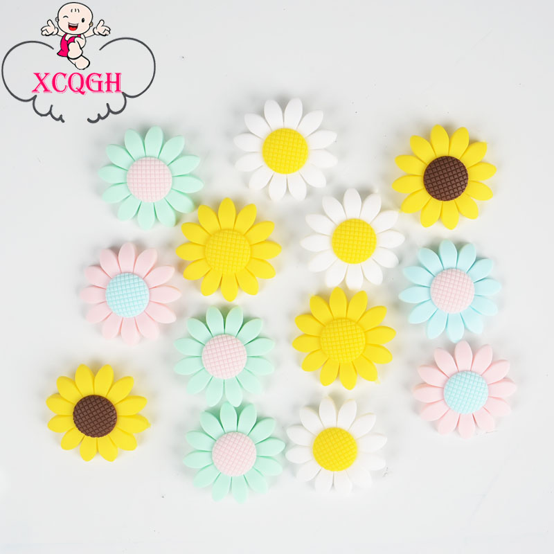 XCQGH 10Pcs Sunflower Silicone Teether Beads Pendant Food Grade Silicone Baby Teether DIY Baby Teething Necklace