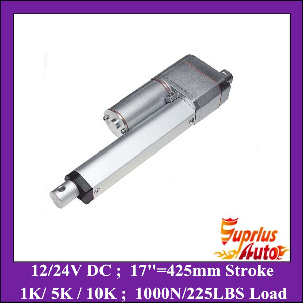 цена на Position Feedback 12V Linear Actuator ! 17inch=425mm stroke 1000N/ 225LBS load electric linear actuator with POT