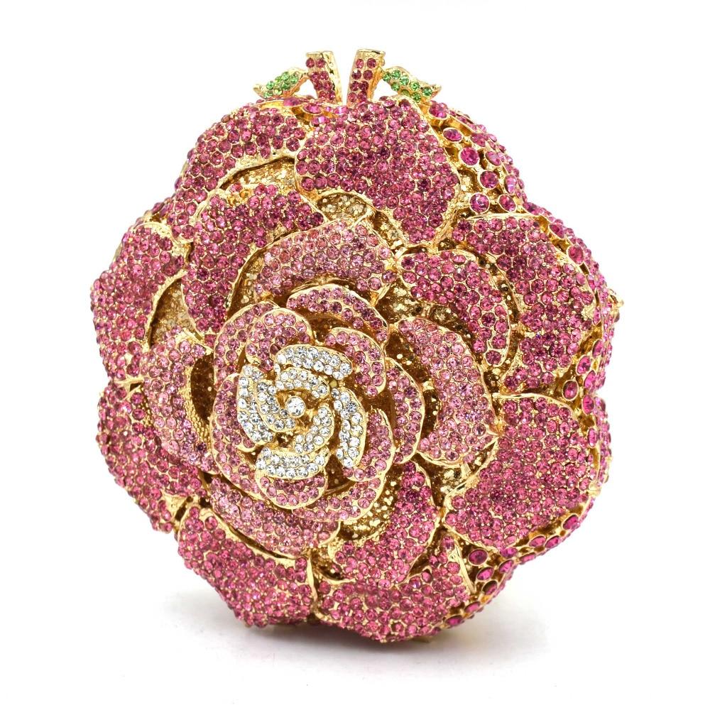 5 Farbe Luxus Candy Multicolor Blume Kristall Kette Clutch Bag Golden Diamond Hochzeit Frauen Party handtasche Abendtasche SC589-in Taschen mit Griff oben aus Gepäck & Taschen bei  Gruppe 2