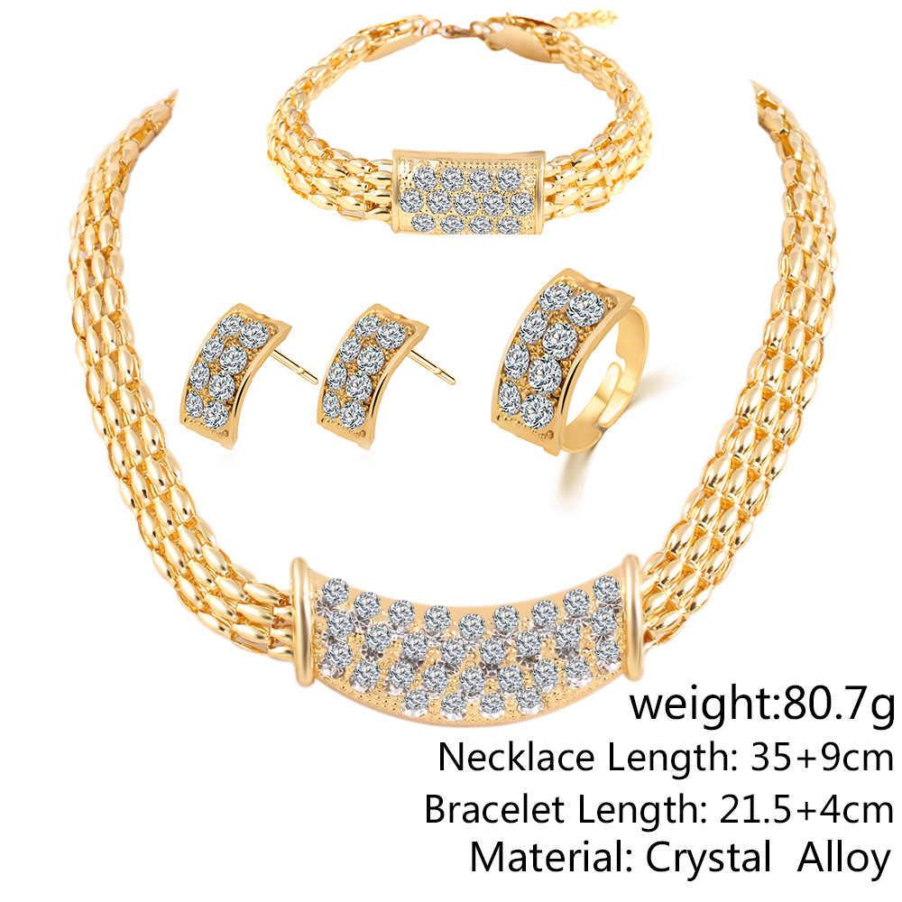 Mode Vintage Blume Kristall Schmuck Sets Afrikanischen Perlen Erklärung Halskette/Ohrringe/Ring/Armband Frauen Hochzeit Schmuck