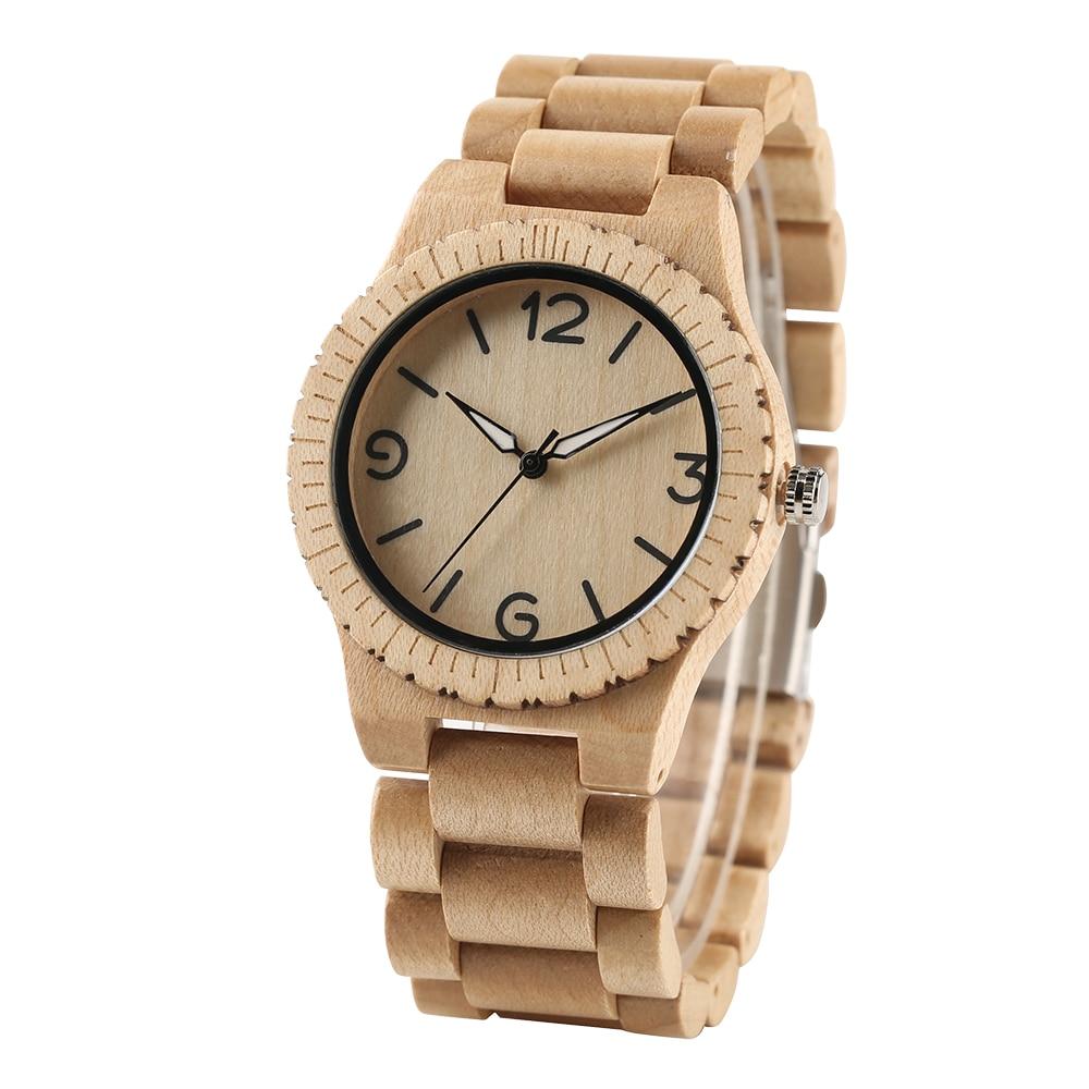 Unique Gear Design Full Wood Mens Quartz Wristwatch Wooden Bangle Bracelet Clasp Natural Simple Clock Gifts for Male reloj