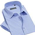 CAIZIYIJIA New Summer Men Short Sleeve Casual Plaid Shirts Brand Fashion High Quality Soft Social Men Dress Shirt Plus Size