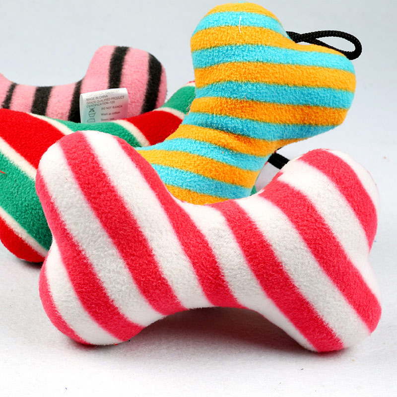 Brand New Fashion Pet Toy Dog Chew Throw With Sound Squeaker Cotton Wool Bone Random color TB Sale