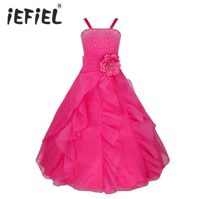 IEFiEL ילדים בנות רקום פרח קשת צד פורמלי כדור שמלת נשף נסיכת שושבינה חתונה ילדי טוטו שמלת גודל 2 14Y