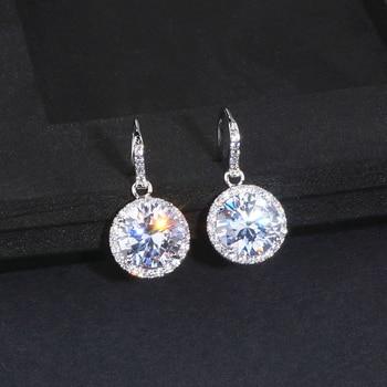 Elegant Classic Round Drop Crystal Earrings for Women Luxury AAA+ Cubic Zirconia Bridal Wedding Dangle Earrings Brincos WX100