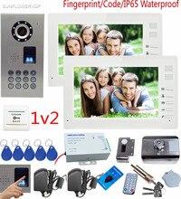 SUNFLOWERVDP Doorphone Fingerprint Door bell With Camera 7 Color Lcd Home Intercom With Rfid Electronic Door