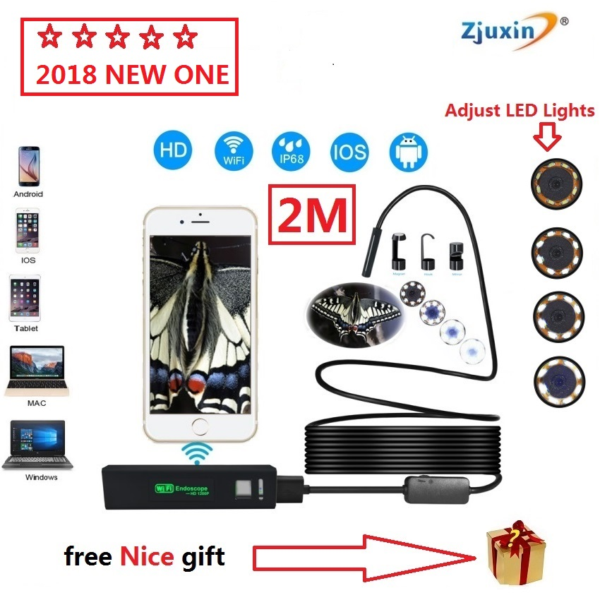 2018 NEW 2M WIFI Endoscope New Camera 8mm HD Lens USB Iphone Android endoscope Tablet Wireless Endoscope wifi softwire 3 5m wifi endoscope new camera 8mm hd lens usb iphone android endoscope tablet wireless endoscope wifi softwire