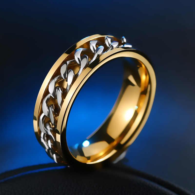 เหล็กทหารงานแต่งงานแฟชั่นแหวนผู้ชายและผู้หญิงที่ไม่ซ้ำกันเครื่องประดับ