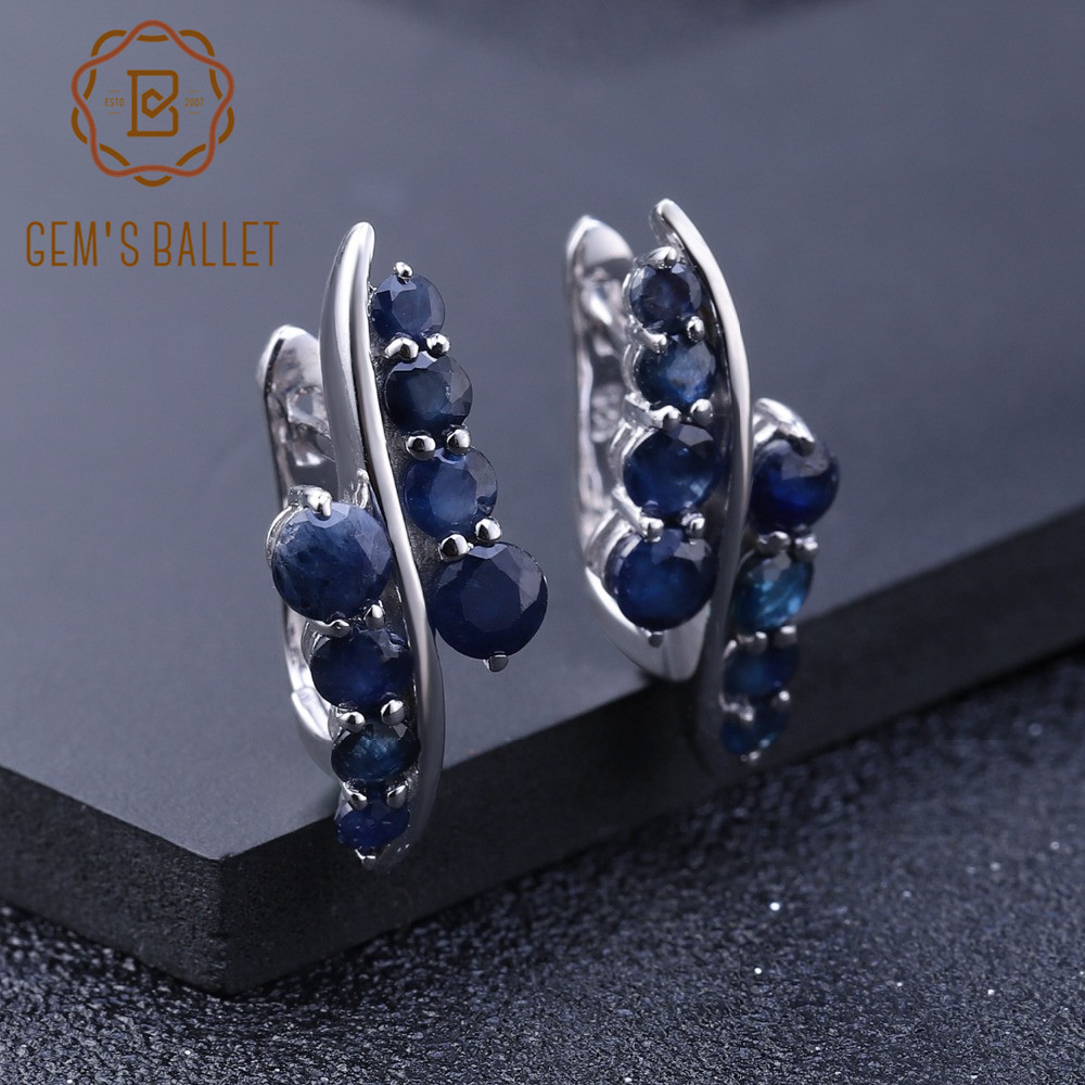 GEM S BALLET 3 0Ct Natural Blue Sapphire Gemstone Engagement Stud Earrings for Women 925 Sterling