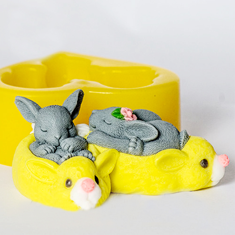 Animal Mould Two Sleeping Rabbits 3D Mold Silicone Soaps Molds Food Grade Molds Silicone Mould Mold For Soap  Aroma Stone Moulds